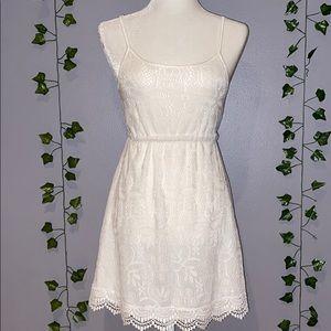 Woman's Divided White Lace Flowy Tank Mini Dress 4
